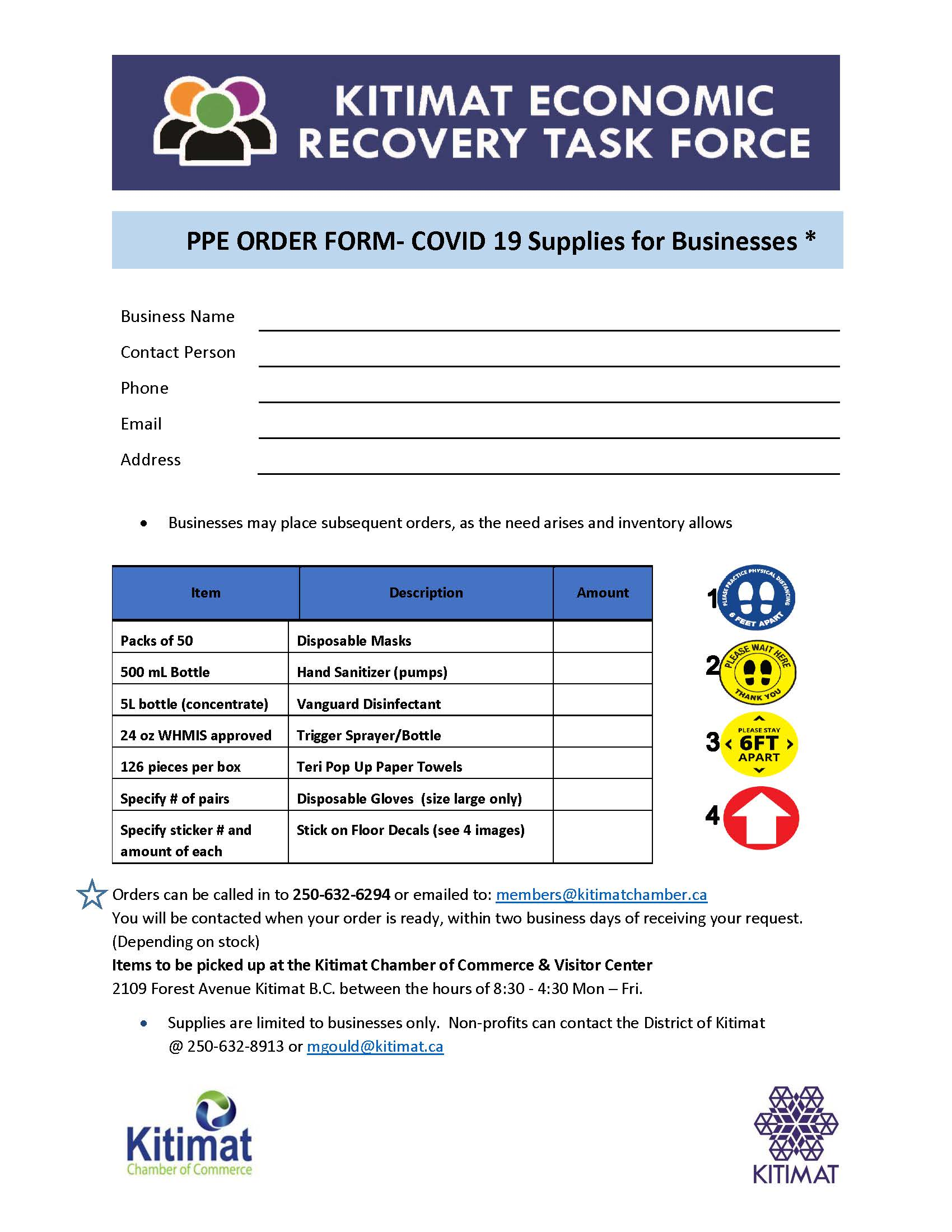 PPE order form for businesses